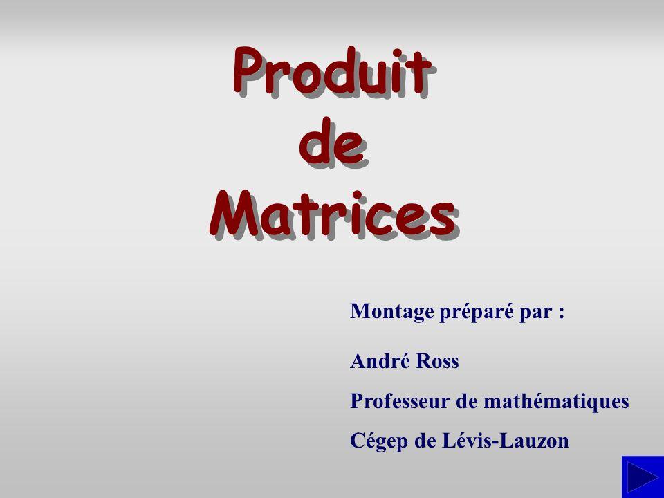 Produit de Matrices Montage préparé par : André Ross