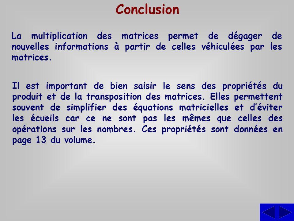 Conclusion La multiplication des matrices permet de dégager de nouvelles informations à partir de celles véhiculées par les matrices.