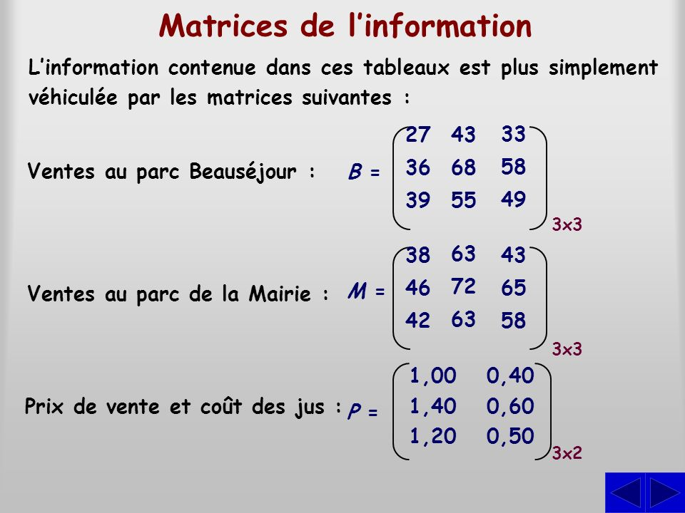 Matrices de l'information