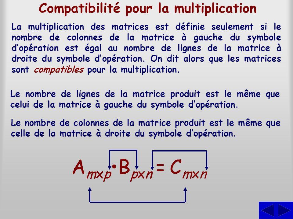 Compatibilité pour la multiplication
