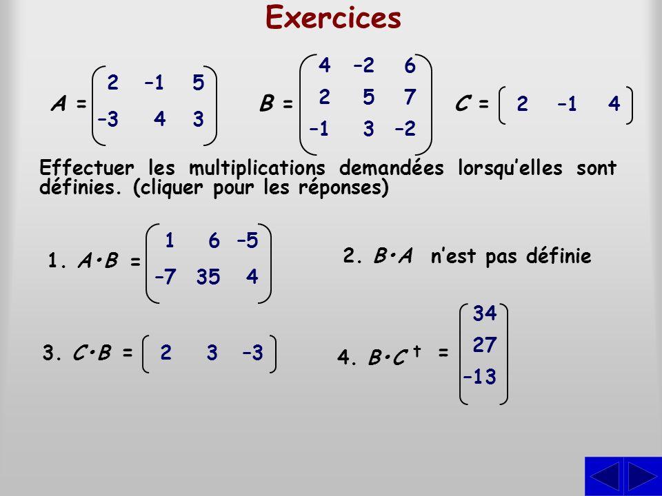 Exercices B = A = C = = = = 4 2 –1 –2 5 3 6 7 2 –3 –1 4 5 3 2 –1 4