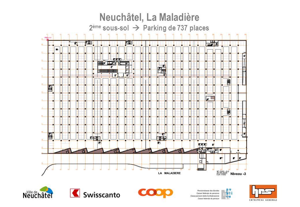 Neuchâtel, La Maladière 2ème sous-sol  Parking de 737 places