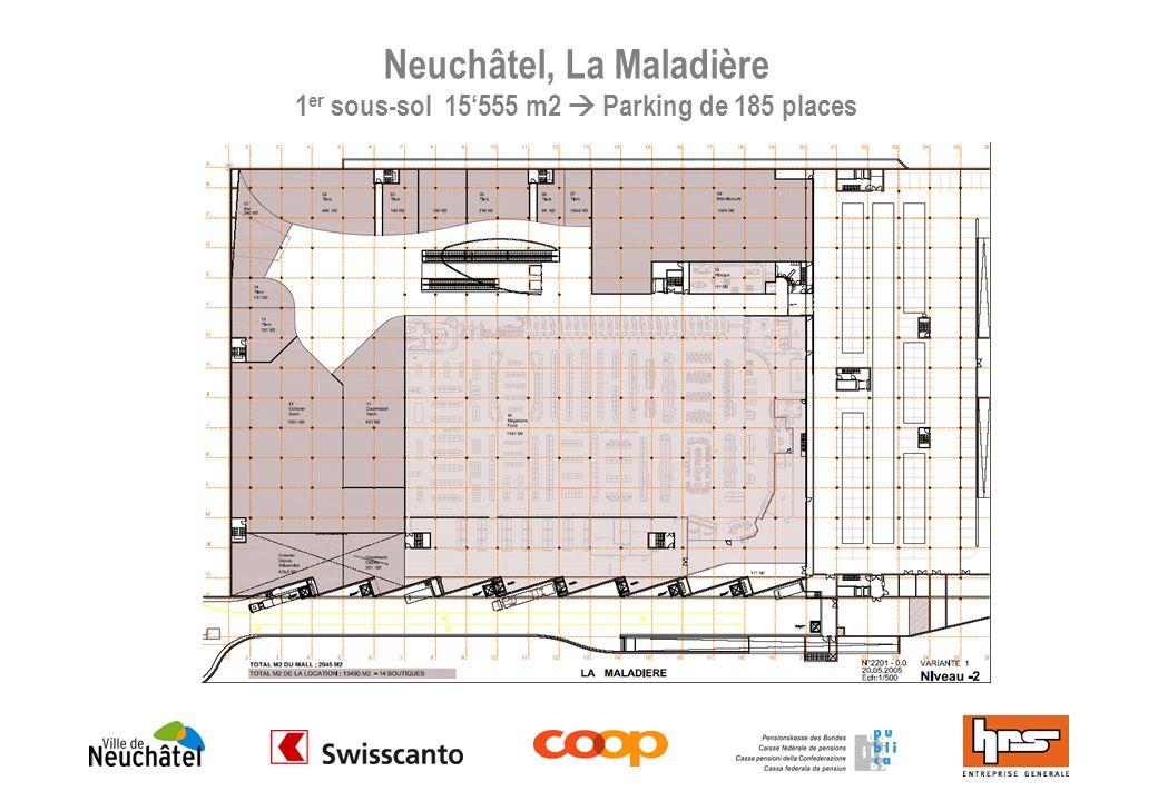 Neuchâtel, La Maladière 1er sous-sol 15'555 m2  Parking de 185 places