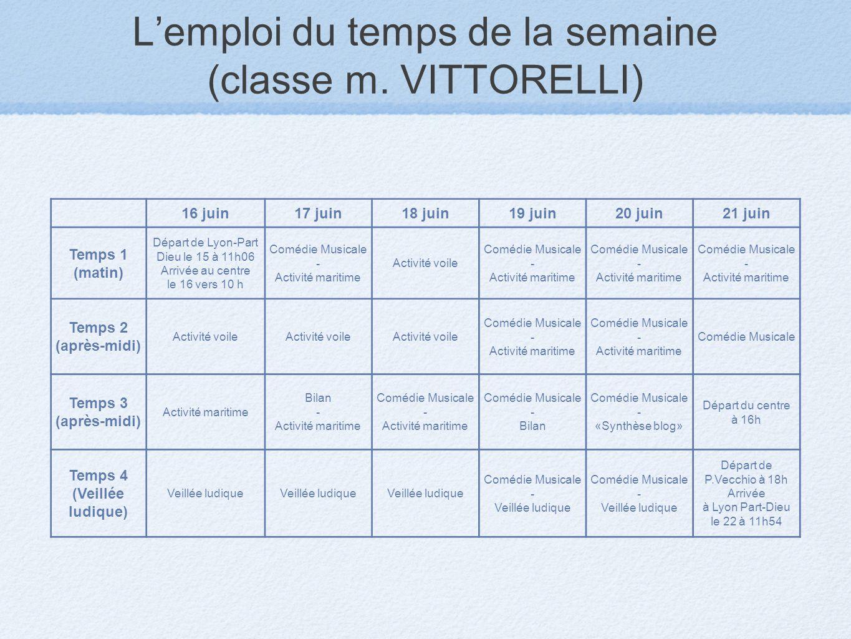 L'emploi du temps de la semaine (classe m. VITTORELLI)