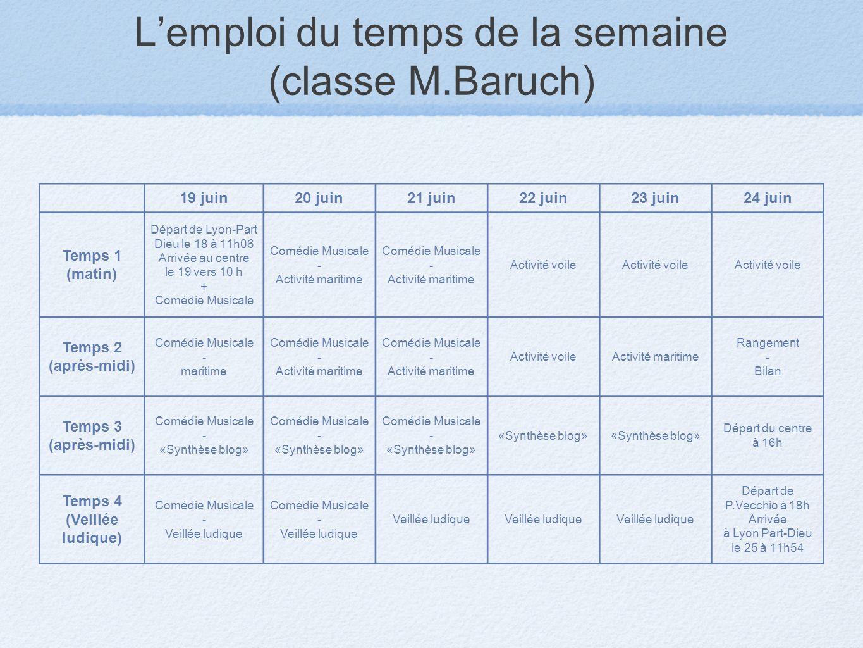 L'emploi du temps de la semaine (classe M.Baruch)