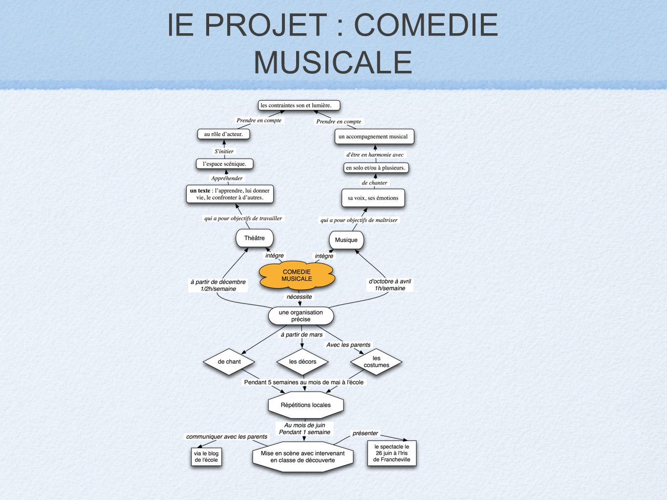 lE PROJET : COMEDIE MUSICALE