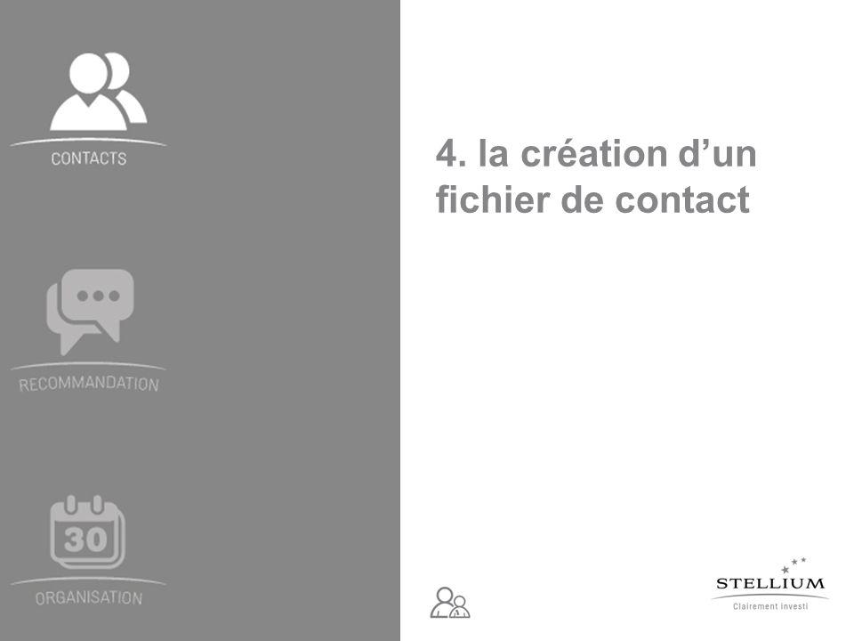 4. la création d'un fichier de contact