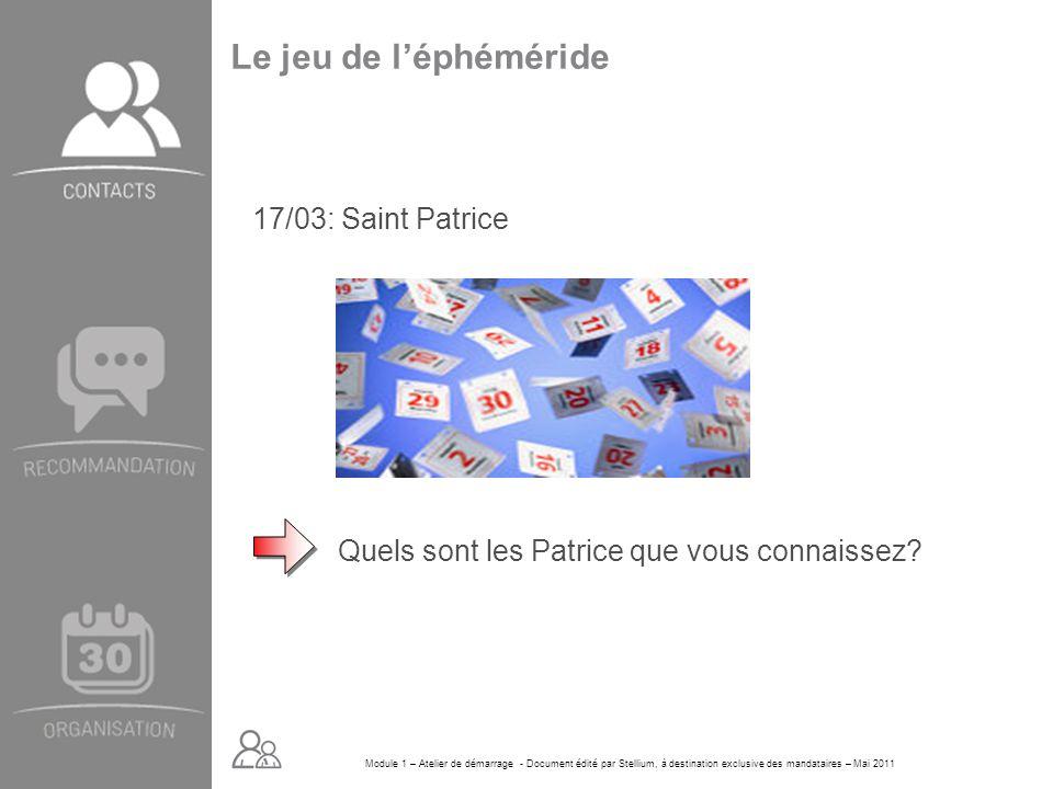 Le jeu de l'éphéméride 17/03: Saint Patrice