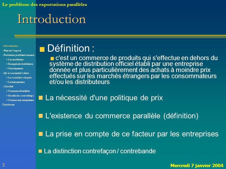Introduction Définition : La nécessité d une politique de prix