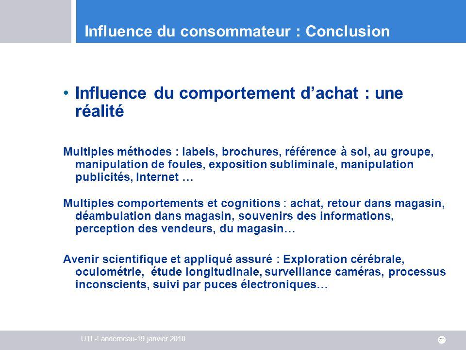 Influence du consommateur : Conclusion