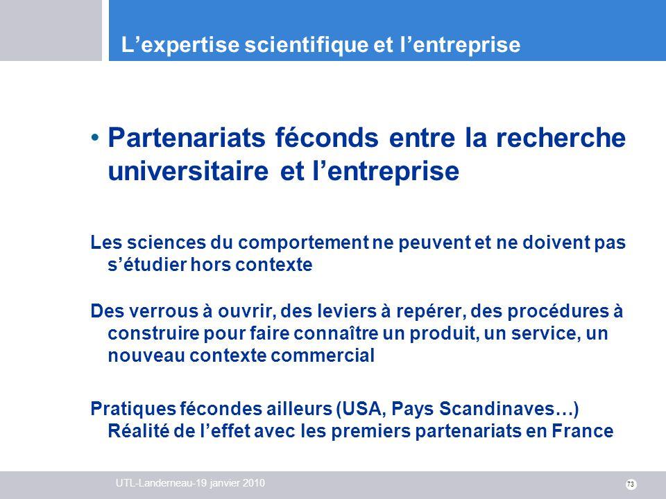 L'expertise scientifique et l'entreprise