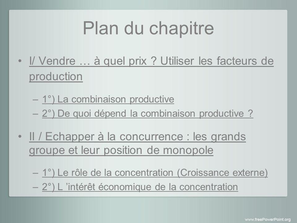Plan du chapitre I/ Vendre … à quel prix Utiliser les facteurs de production. 1°) La combinaison productive.