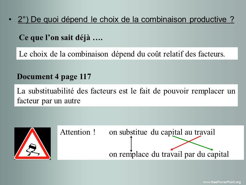 2°) De quoi dépend le choix de la combinaison productive