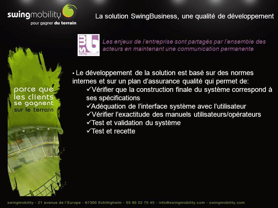 La solution SwingBusiness, une qualité de développement