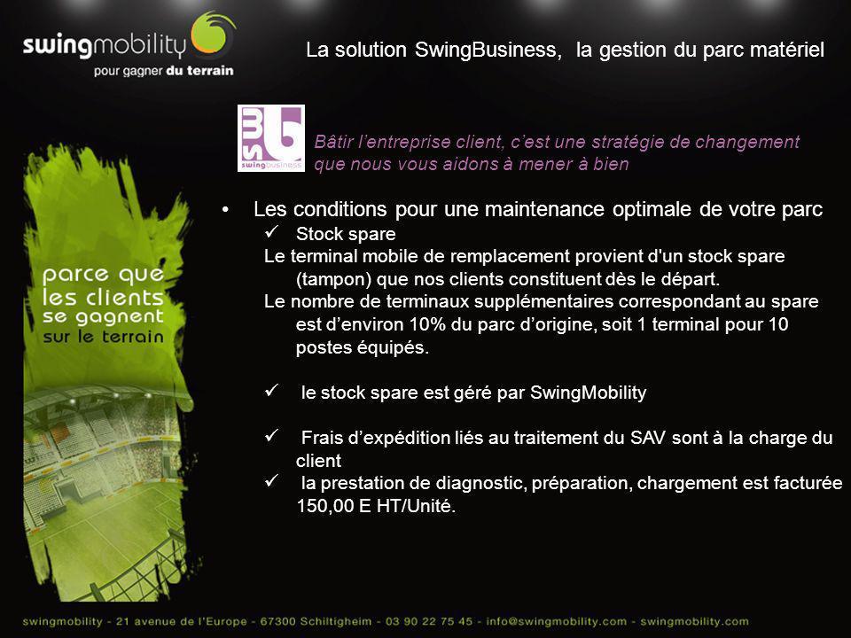 La solution SwingBusiness, la gestion du parc matériel