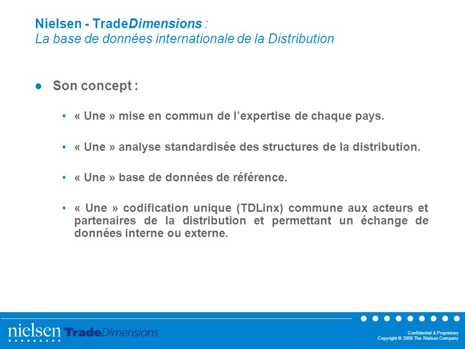 Nielsen - TradeDimensions : La base de données internationale de la Distribution