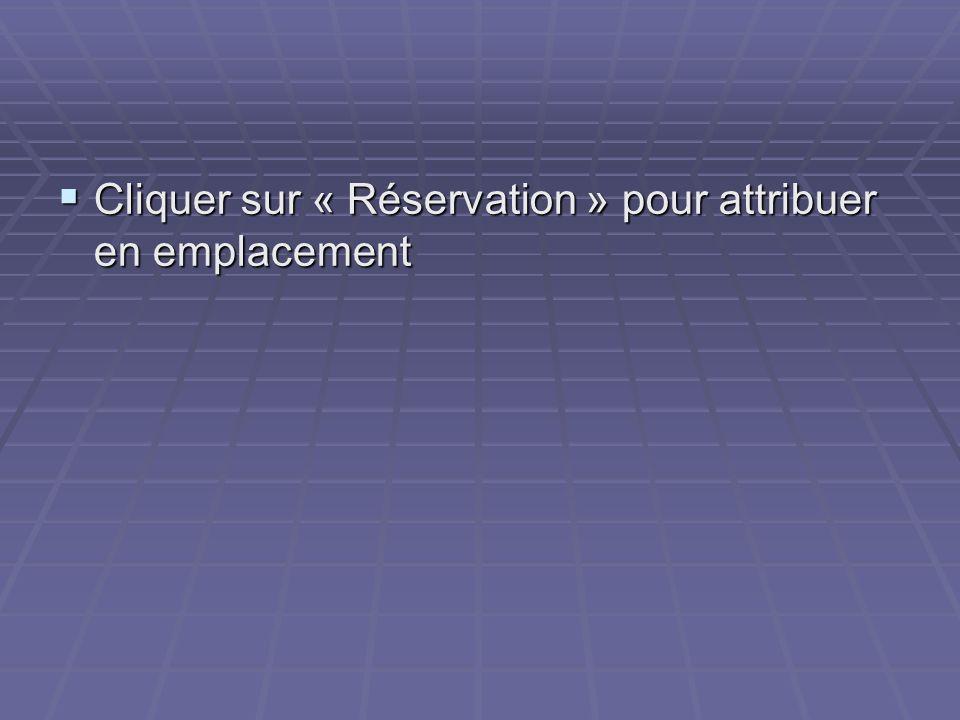 Cliquer sur « Réservation » pour attribuer en emplacement