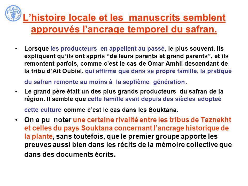 L'histoire locale et les manuscrits semblent approuvés l'ancrage temporel du safran.