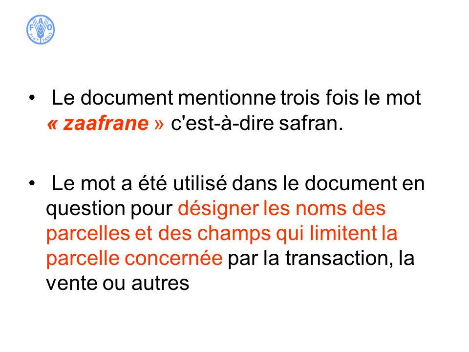 Le document mentionne trois fois le mot « zaafrane » c est-à-dire safran.