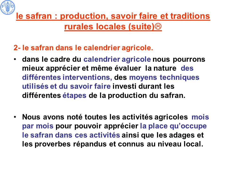 le safran : production, savoir faire et traditions rurales locales (suite)