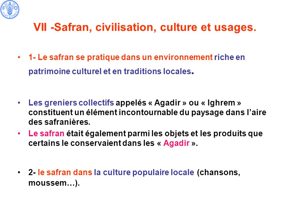 VII -Safran, civilisation, culture et usages.