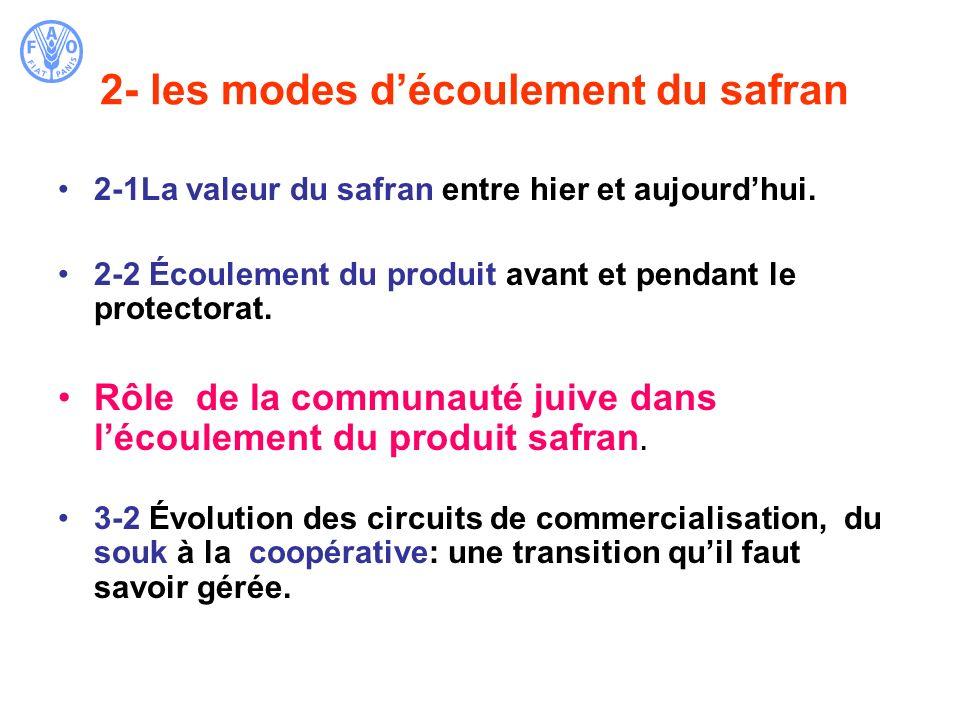 2- les modes d'écoulement du safran