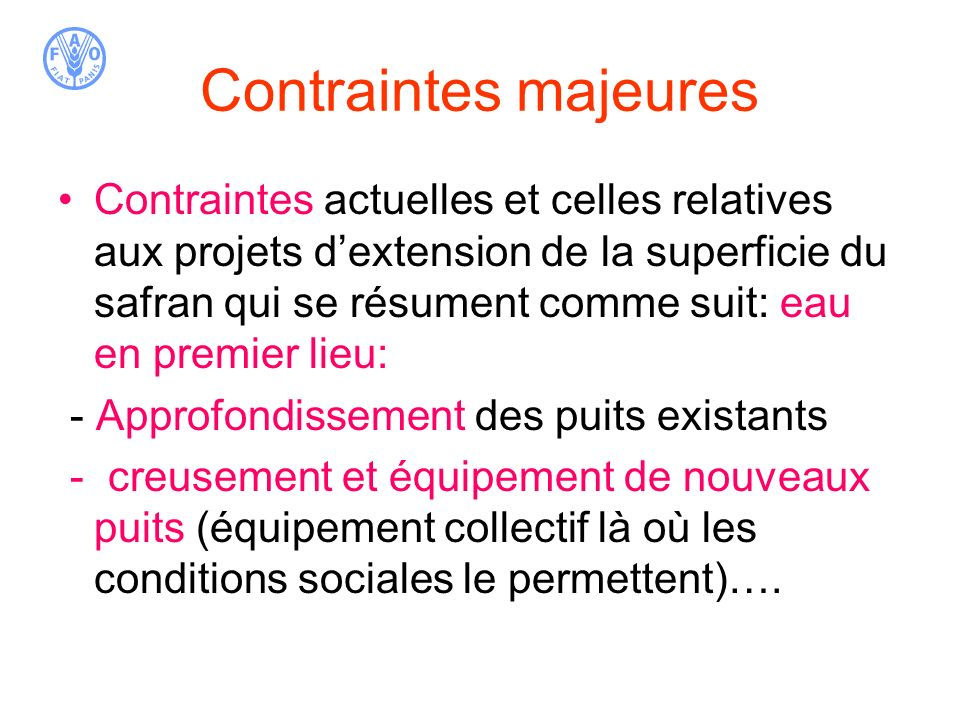 Contraintes majeures