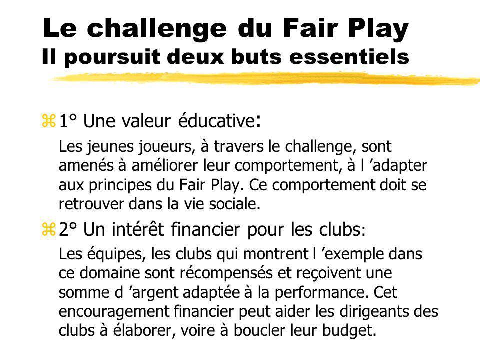 Le challenge du Fair Play Il poursuit deux buts essentiels