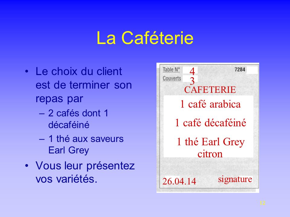 La Caféterie Le choix du client est de terminer son repas par