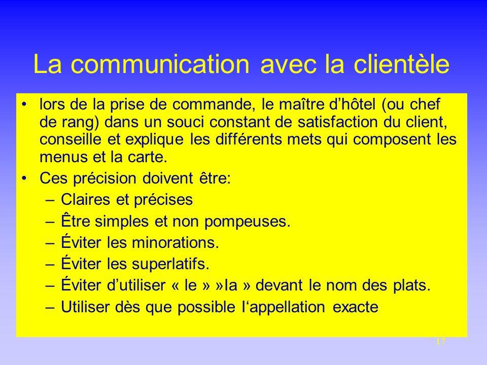 La communication avec la clientèle