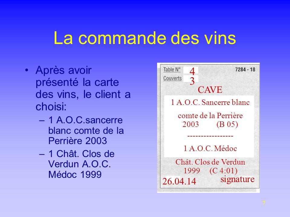 La commande des vins Après avoir présenté la carte des vins, le client a choisi: 1 A.O.C.sancerre blanc comte de la Perrière 2003.