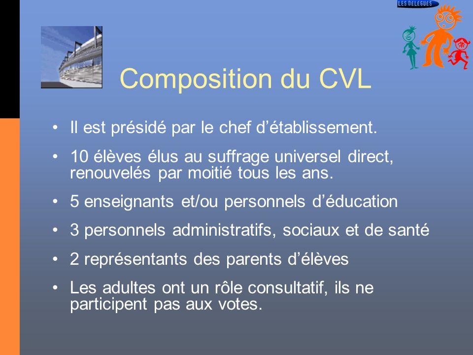 Composition du CVL Il est présidé par le chef d'établissement.
