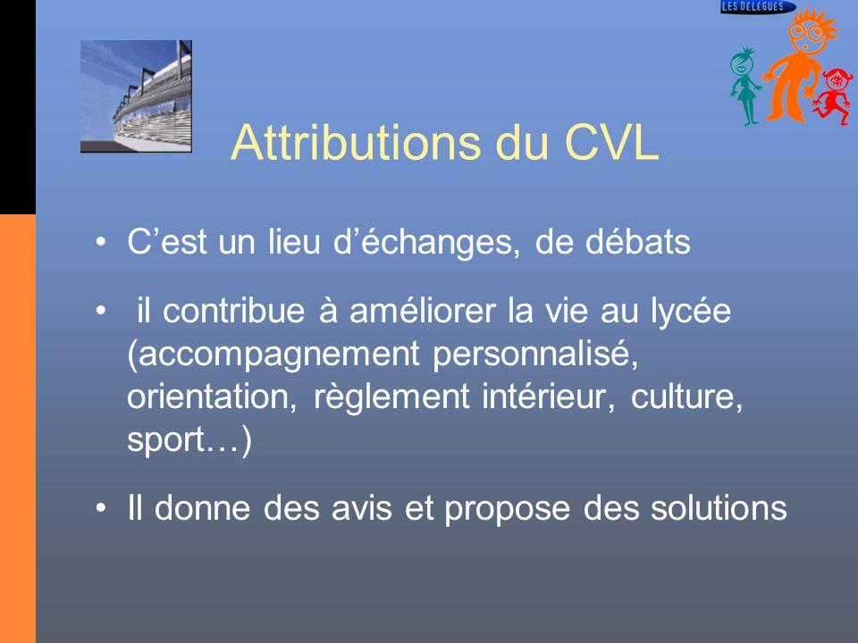 Attributions du CVL C'est un lieu d'échanges, de débats