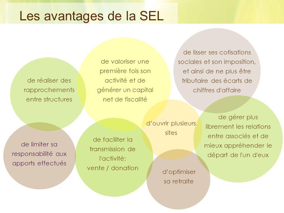 Les avantages de la SEL de lisser ses cotisations sociales et son imposition, et ainsi de ne plus être tributaire des écarts de chiffres d affaire.