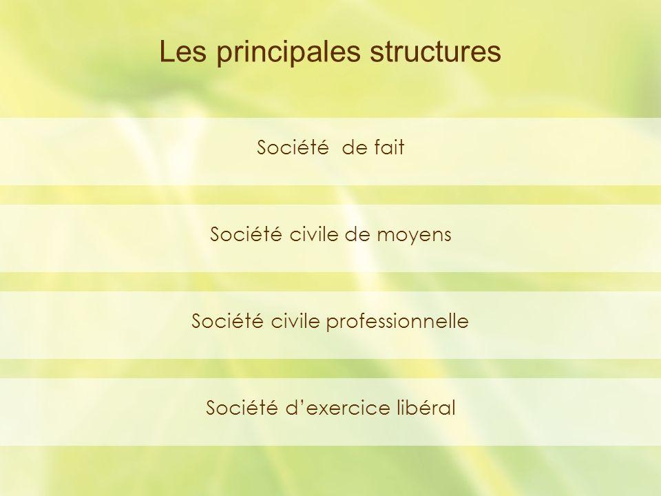 Les principales structures