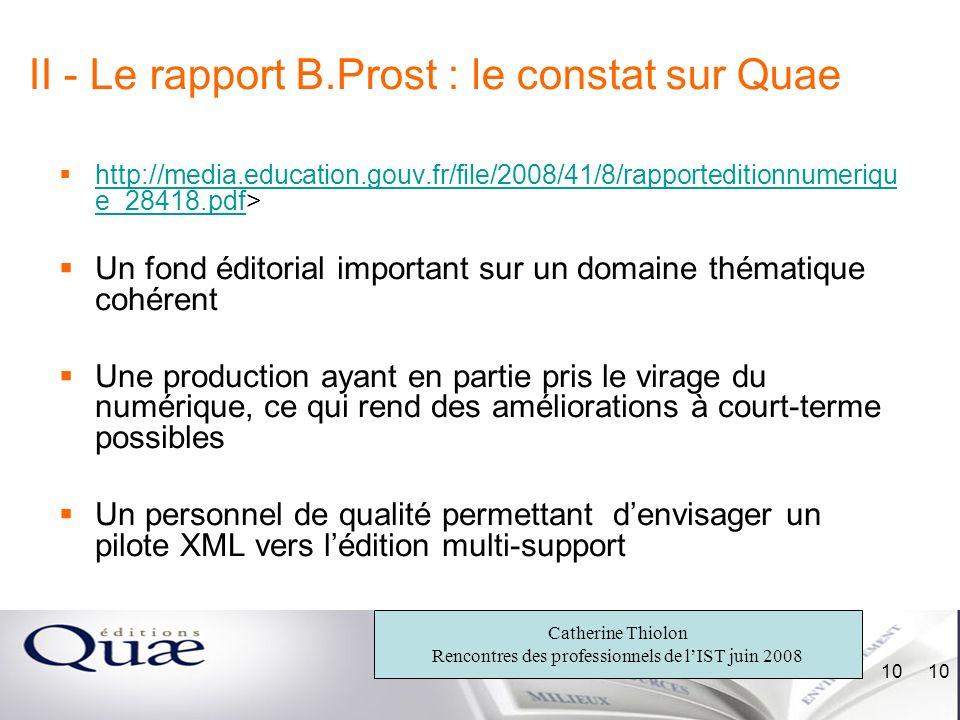 II - Le rapport B.Prost : le constat sur Quae