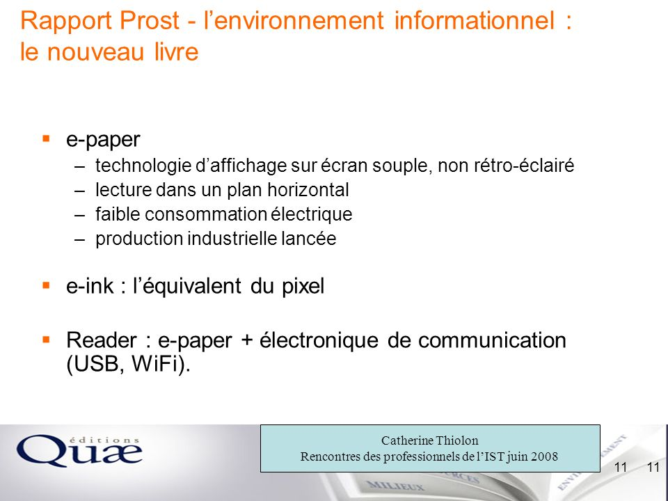 Rapport Prost - l'environnement informationnel : le nouveau livre