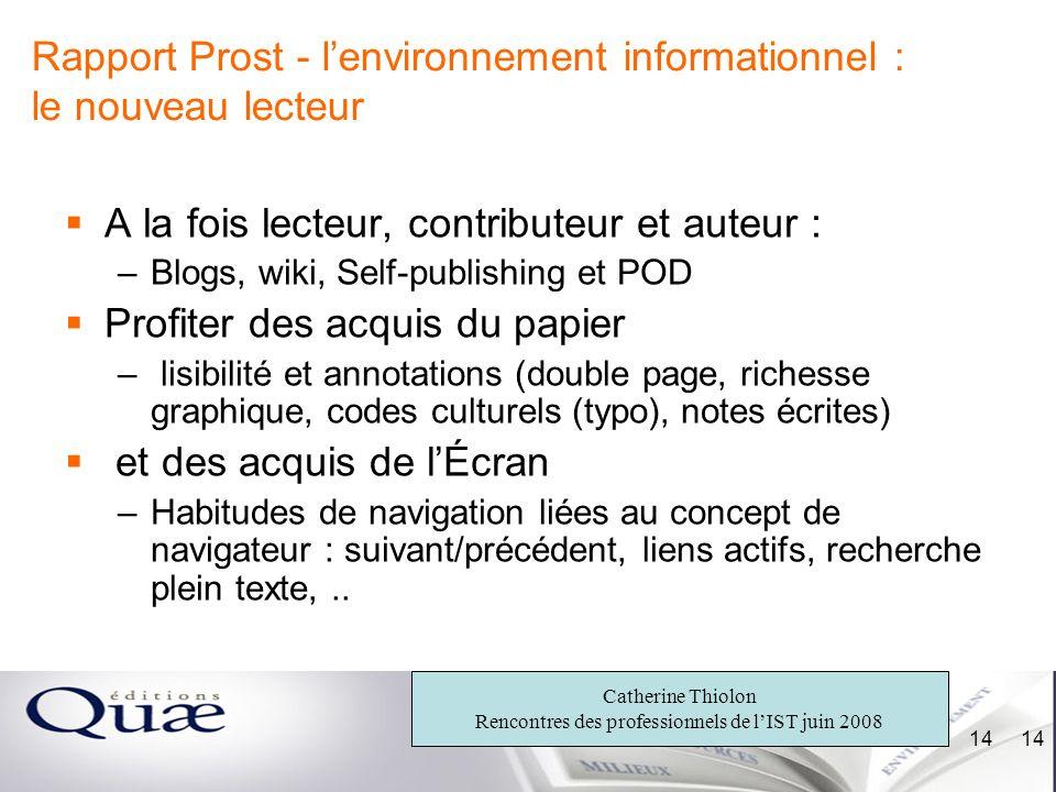 Rapport Prost - l'environnement informationnel : le nouveau lecteur