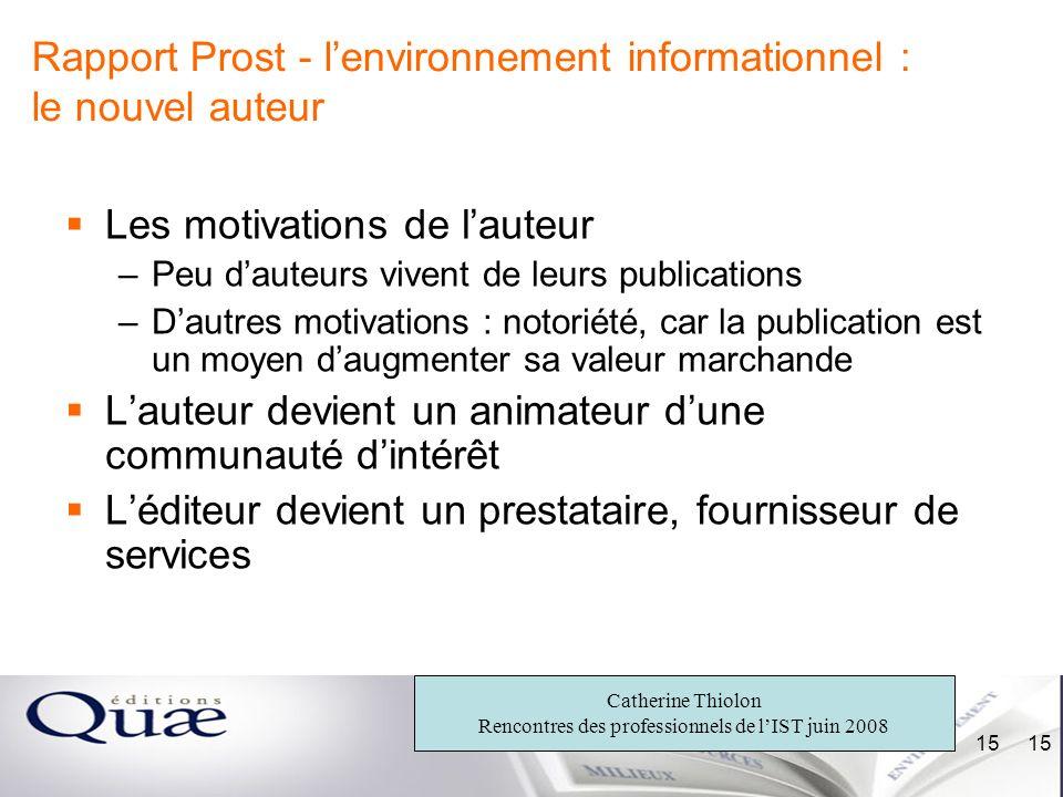 Rapport Prost - l'environnement informationnel : le nouvel auteur