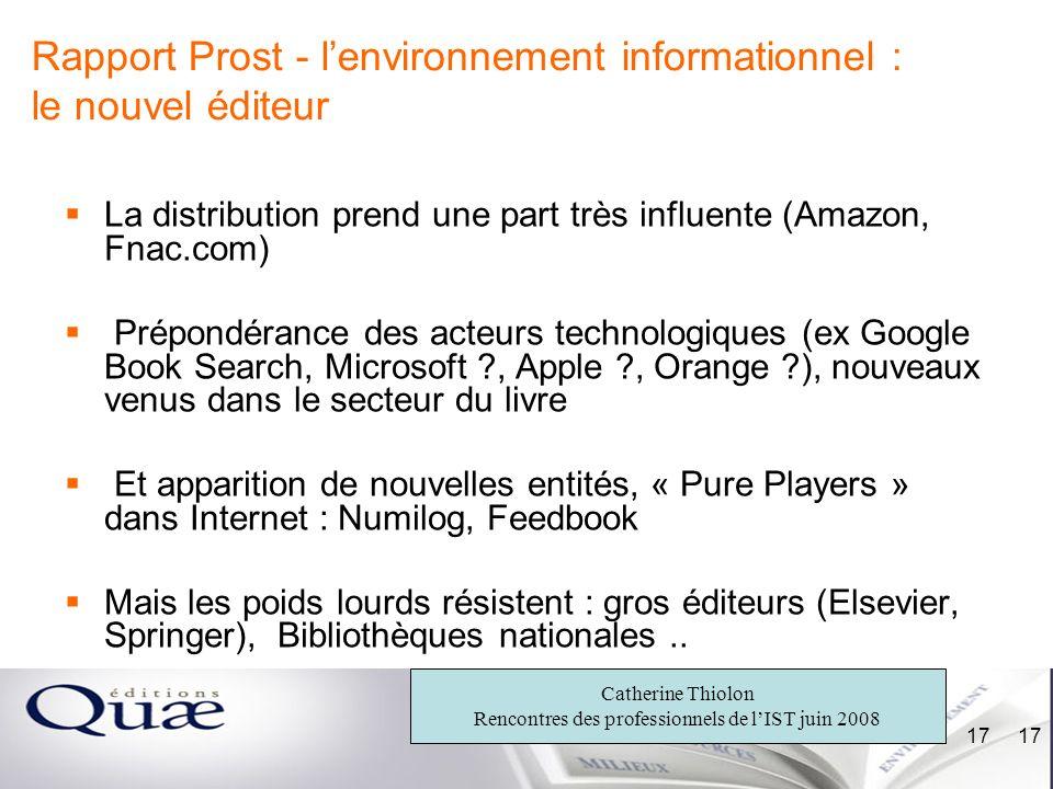 Rapport Prost - l'environnement informationnel : le nouvel éditeur