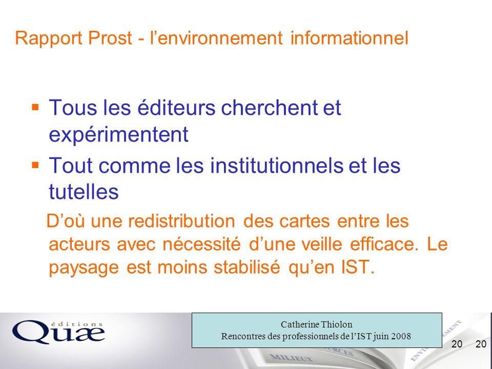 Rapport Prost - l'environnement informationnel