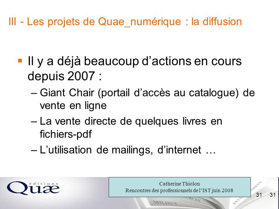 III - Les projets de Quae_numérique : la diffusion