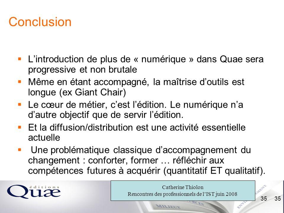 Conclusion L'introduction de plus de « numérique » dans Quae sera progressive et non brutale.