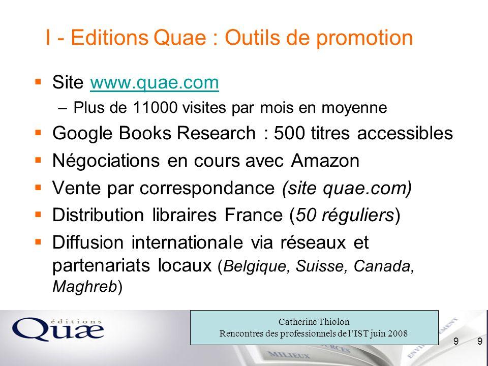I - Editions Quae : Outils de promotion
