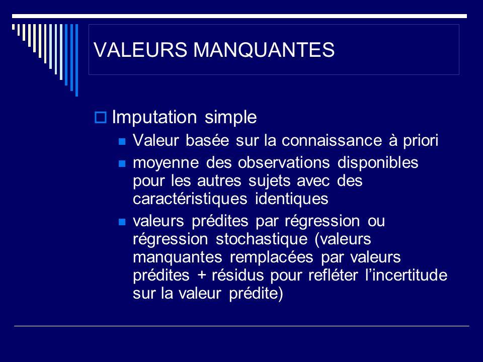 VALEURS MANQUANTES Imputation simple