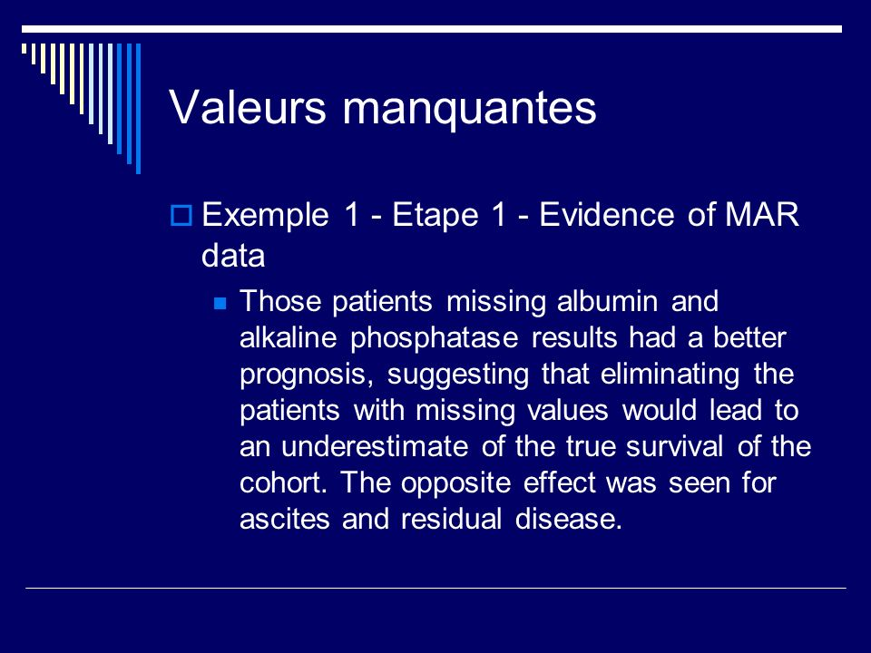 Valeurs manquantes Exemple 1 - Etape 1 - Evidence of MAR data