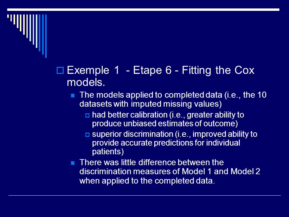 Exemple 1 - Etape 6 - Fitting the Cox models.
