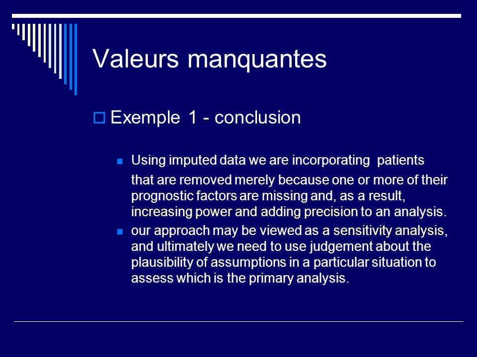 Valeurs manquantes Exemple 1 - conclusion