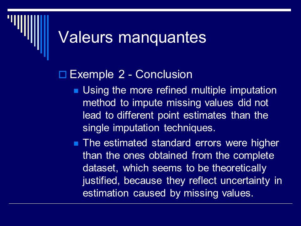 Valeurs manquantes Exemple 2 - Conclusion