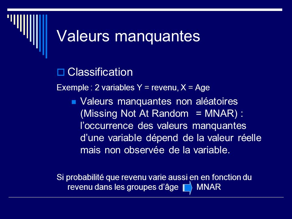 Valeurs manquantes Classification